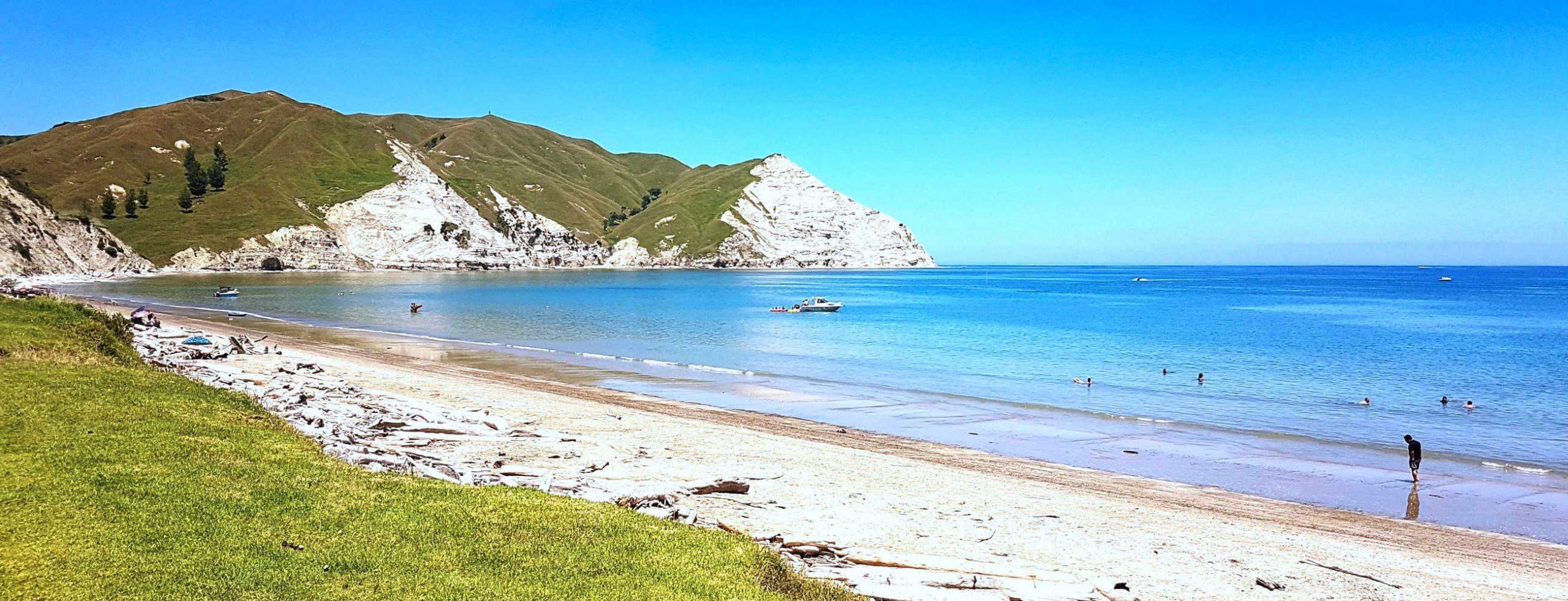 Mahia Peninsula white limestone cliffs,New Zealand