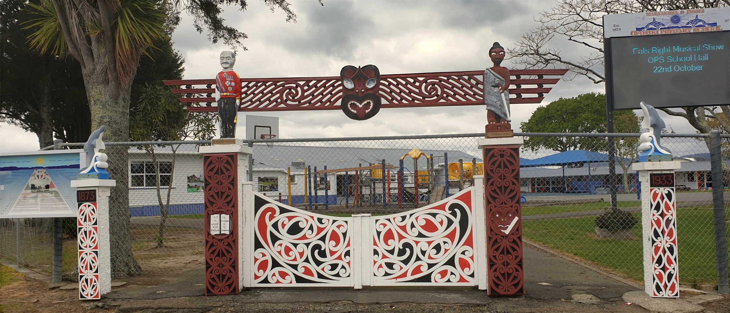 Opotiki Primary School entrance is a striking example of Maori interpretation,New Zealand