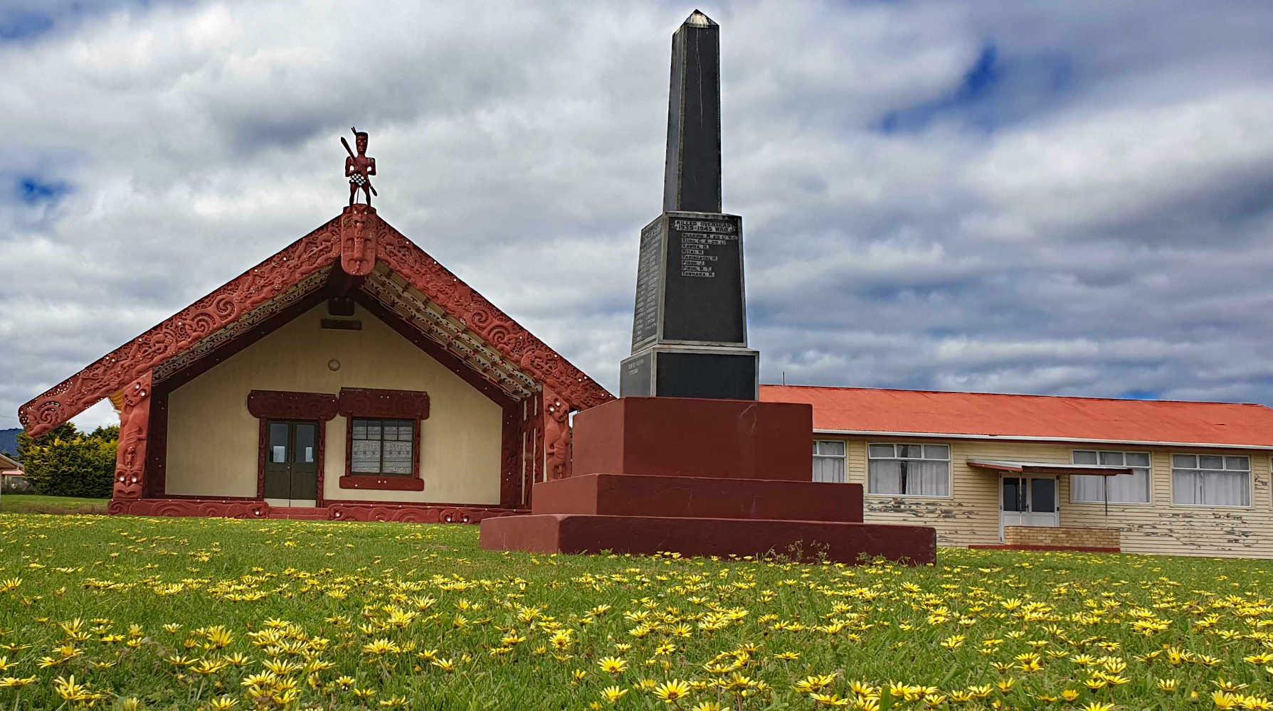 TE KAHA vicnity Marae with its military memorial,New Zealand