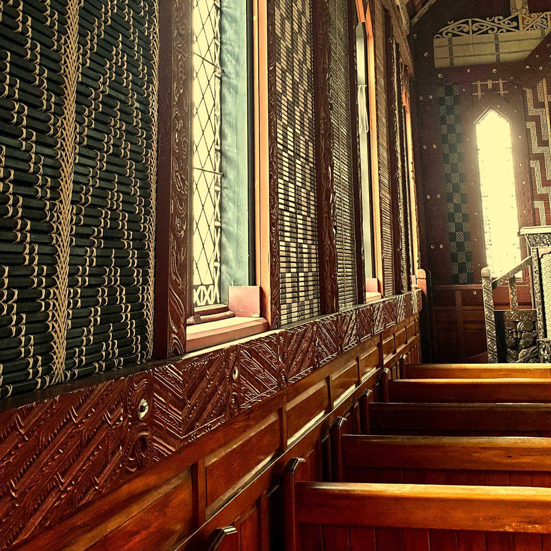 Tikitiki church interior wall woven panels,New Zealand