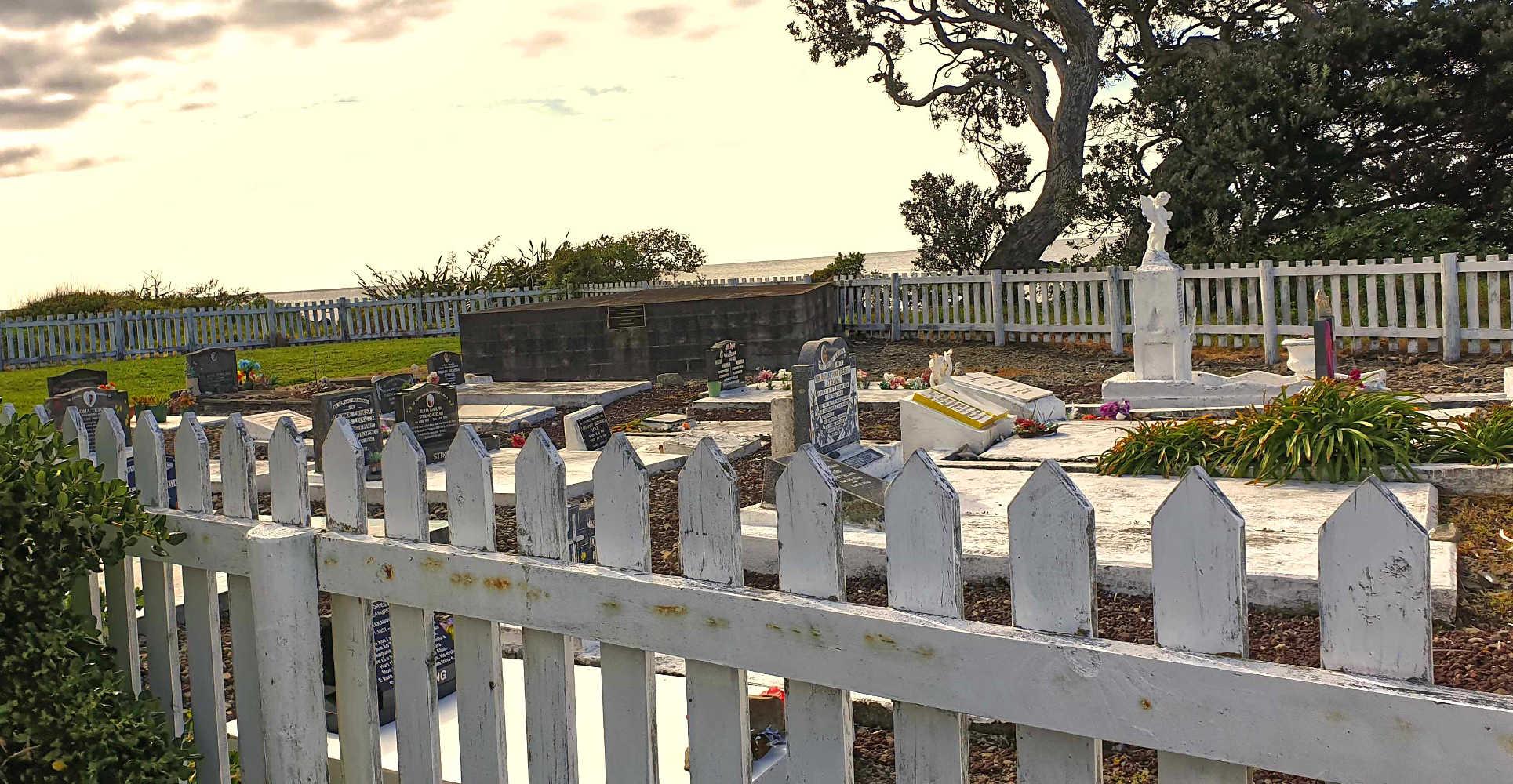 Waihau Bay church cemetery overlooking Waihau Bay,New Zealand