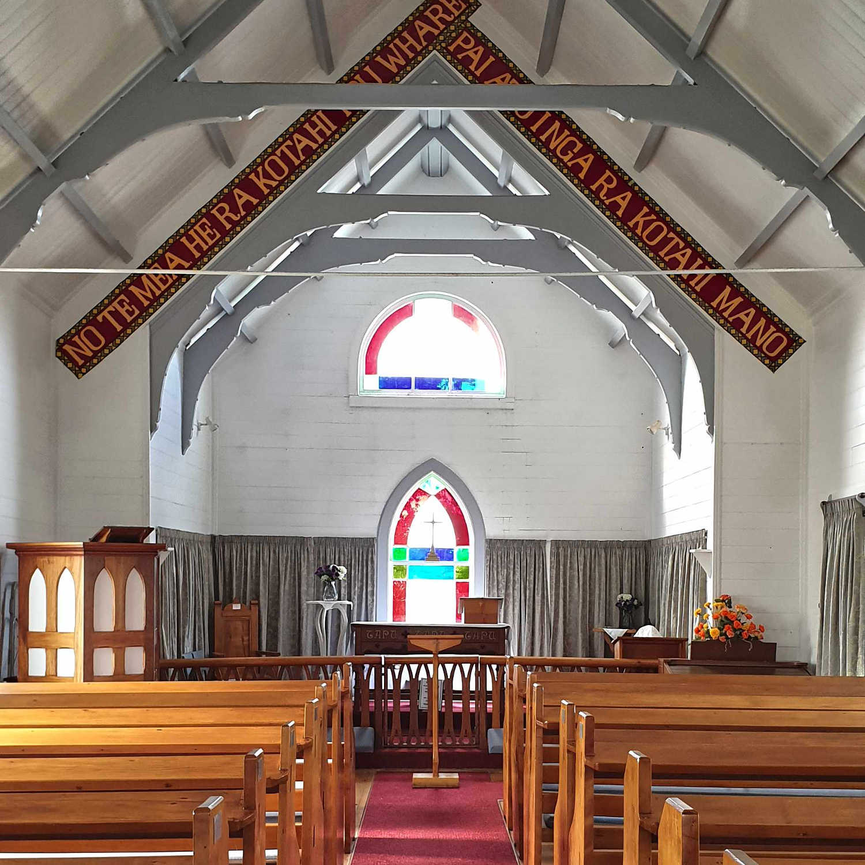 Waihau Bay church interior,New Zealand